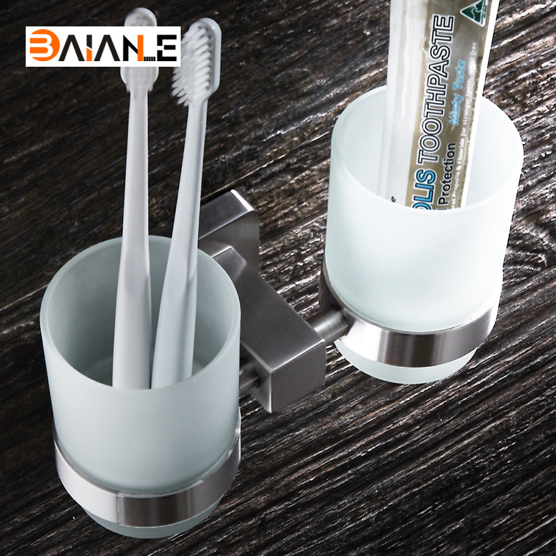 Cup Holders Stainless Steel Brushed Cup Holders glass cups Bathroom Accessories Double Toothbrush Tooth cup holder toothbrush holder wall mounted square base 304 stainless steel and copper toothbrush holders with glass cups polished chrome