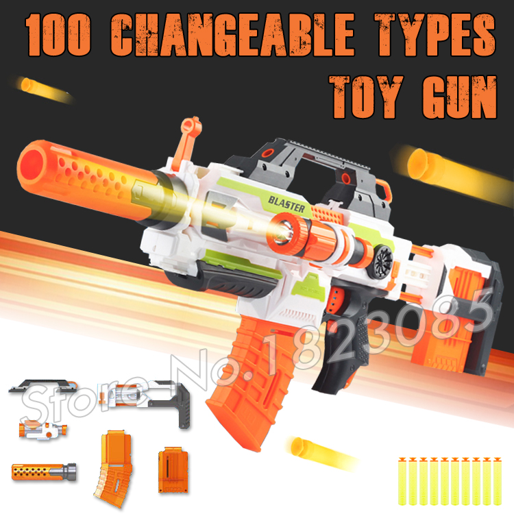 ФОТО 100 Changeable Combination Electric Gun Soft Bullet Plastic Toys Machine Guns Bursts Compitable with Neft Gun N-Strike Modulus