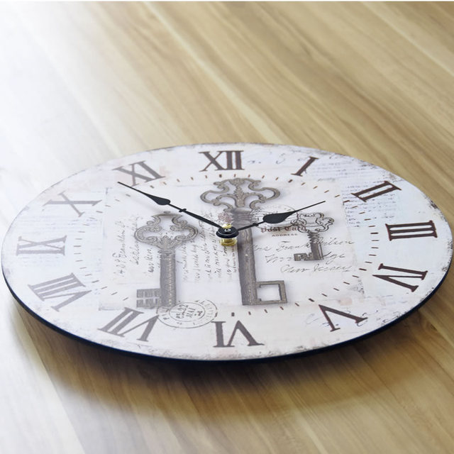 Europe American Style Wood Wall Clock Retro Nostalgia Fashion Large Decorative Wall Clocks Home 35*35CM