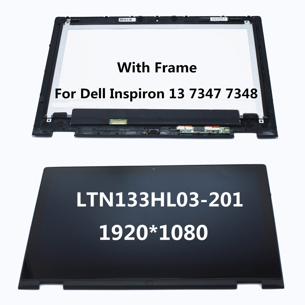 13.3 Laptop LCD Display Touch Screen Digitizer Assembly + Frame For Dell Inspiron 13 7000 series 7347 7348 P57G LTN133HL03-201 free shipping b156xtk01 0 n156bgn e41 laptop lcd screen panel touch displayfor dell inspiron 15 5558 vostro 15 3558 jj45k