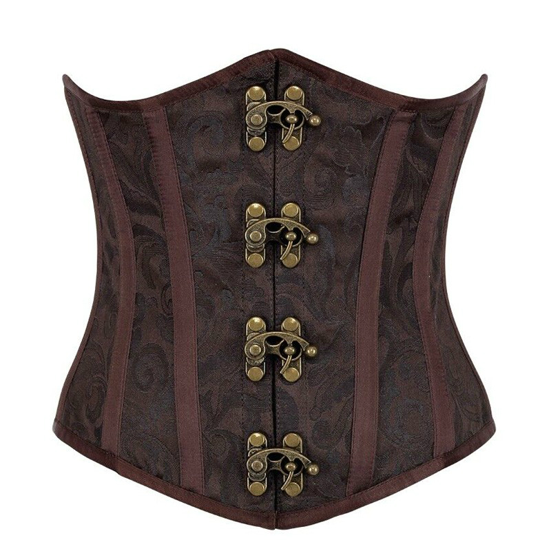 MOONIGHT S-2XL Steampunk   Corsets     Bustiers   Sexy Brown Underbust Gothic   Corset   Steel Bone   Bustiers   With Button