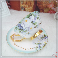 1set 200Ml Single Layer Porcelain Tea Cup Bone China Coffee Cup And Saucer Sets Give For