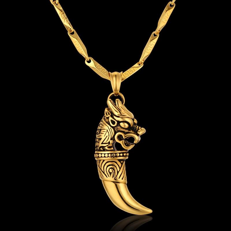 Punk Vintage Cool Dragon Wolf Tooth Pendant Necklace Men