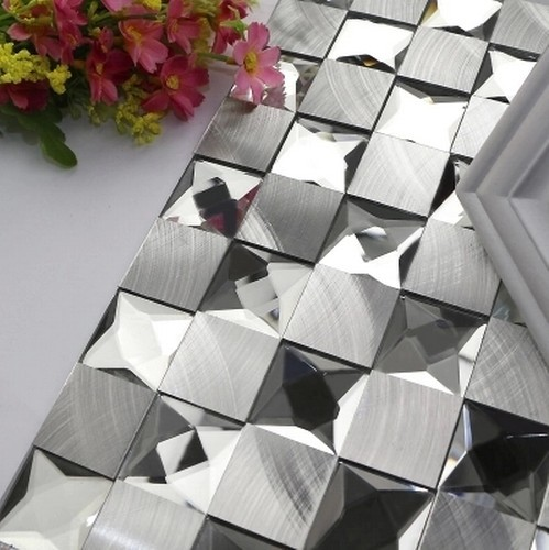 Modern Square Aluminum Mixed 5 Faced Diamond Mirror Glass Mosaic Tiles  Bedroom Wall Tiles Living Room