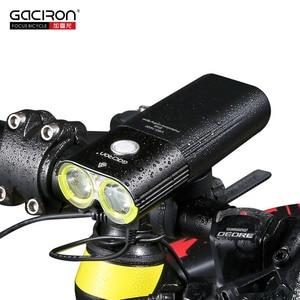 Image 2 - Gaciron 자전거 헤드 라이트 리어 라이트 스위트 팩 USB 충전 내부 배터리 LED 프론트 테일 램프 사이클링 조명 시각 경고