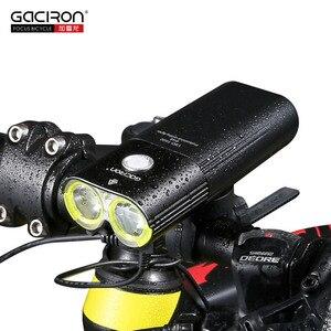 Image 2 - Gaciron bicicleta farol luz traseira pacote de carga usb bateria interna led frente cauda lâmpada ciclismo iluminação aviso visual