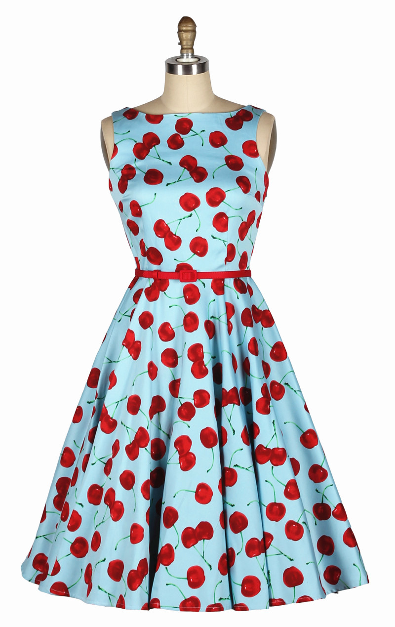 Vintage 50s Swing vestido Blue and Red Cherry Print dress Pin up ...