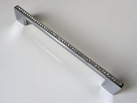 """7.55 """"192mm Dresser Gaveta Puxa Gabinete de Cristal Botão de Strass de Vidro Cozinha Móveis Handle Bling Blings Prata Cromo"""