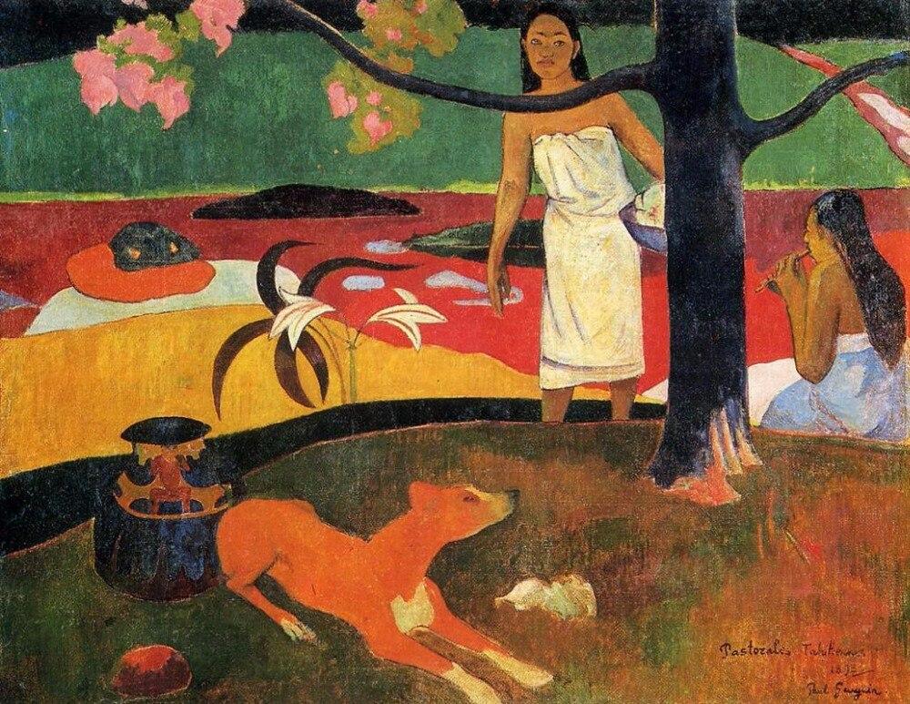 Tahitian-toile de peinture à lhuile | Toile pastorale de haute qualité par Paul Gauguin, Reproduction artistique peinte à la main, 1898