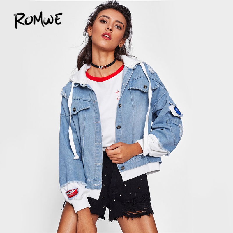 ROMWE Contrast 2 In 1 Hooded Jacket Denim Coat Women Frayed Trim Blue Jean Jackets 2018 Autumn Button Up Casual Patchwork Jacket