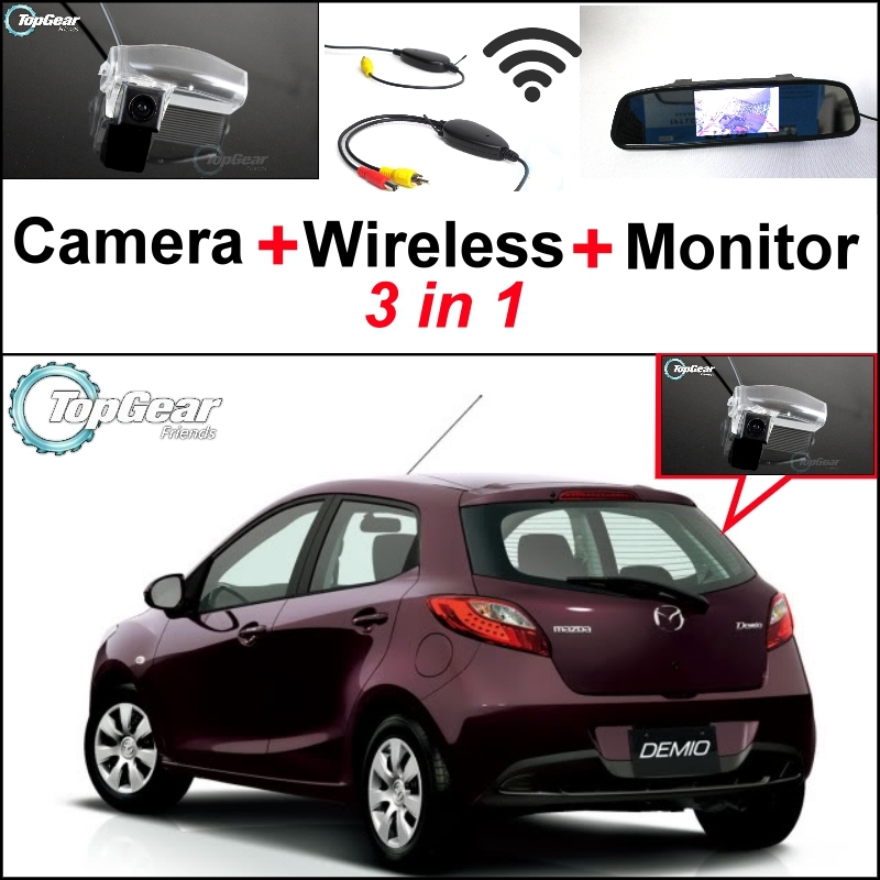 3 in1 Special Rear View Camera + Wireless Receiver + Mirror Monitor Easy DIY Backup Parking System For Mazda 2 Mazda2 Demio wireless pager system 433 92mhz wireless restaurant table buzzer with monitor and watch receiver 3 display 42 call button