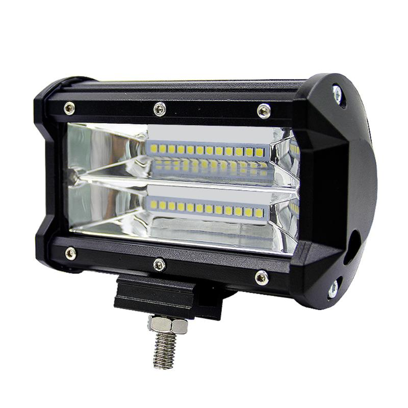 5inch 72W 2 Row Work Light Bar 6000K Flood Lamp Marine LED Lighting For Jeeps Off