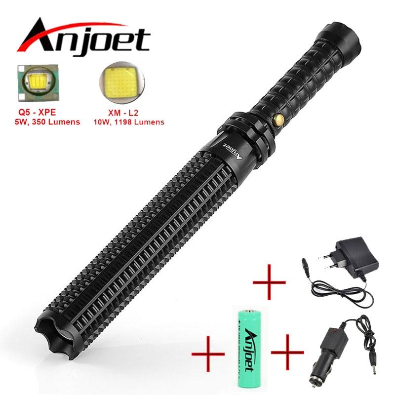 Set Potente led Zoomable torcia elettrica XML Q5/L2 Telescopico baton autodifesa polizia Patrol 1101 ricaricabile luce del flash 18650