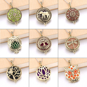 Tree Of Life Bronze Aroma Box Diffuser Necklace Magnetic Aromatherapy Essential Oil Diffuser Perfume Box Locket Pendant Jewelry(China)
