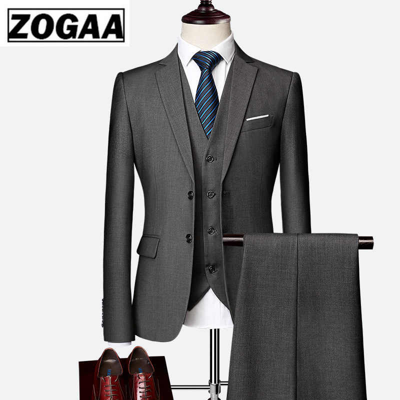 ZOGAA 2020 suit male 2019 spring and autumn high-end business blazers three-piece / Slim large size multi-color boutique suit