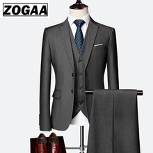 ZOGAA 2019 Male Wedding Dress Custom Made Groom Tuxedos Men's suits Tailor Suit Blazer Suits For Men 3 Piece Jacket+Pants+Vest 2018 retro gentleman style custom made boy s suits tailor suit blazer suits for boy 3 piece jacket pants vest the suits