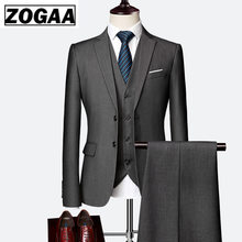 ZOGAA 2019 Male Wedding Dress Custom Made Groom Tuxedos Men's suits Tailor Suit Blazer Suits For Men 3 Piece Jacket+Pants+Vest(China)