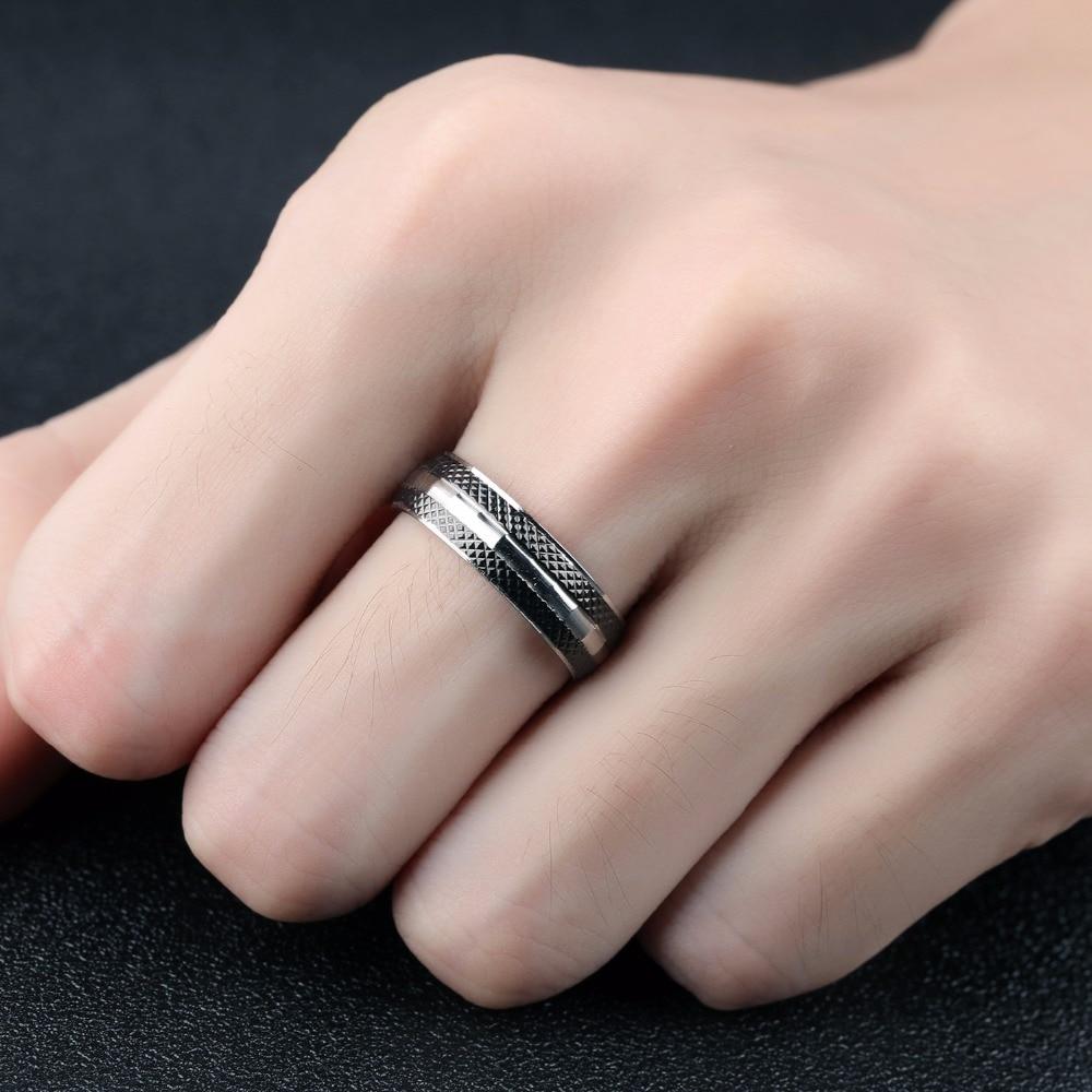JHSL brand Punk Male Men Black Rings for boy Solid Polished 316L ...