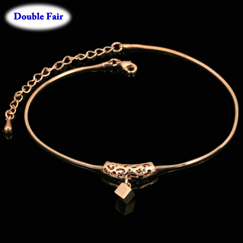 Jewelry & Accessories Classic Big Cube Rose Gold Color Anklets Fashion Brand Jewelry For Women & Best Friends Wholesale Dwa030 Rich And Magnificent