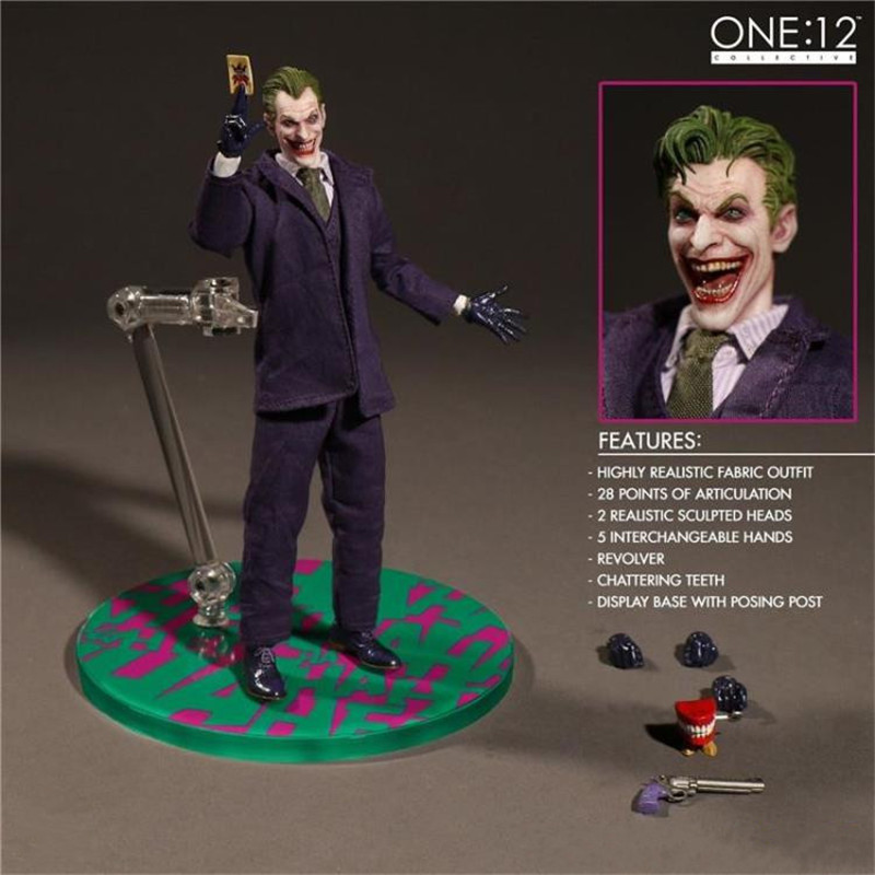 MEZCO Batman The Joker 1/12 Scale PVC Action Figure Collectible Model Toy (Real Clothing) Toys the punisher action figures 1 12 scale pvc action figure collectible model toy anime punisher superhero toys
