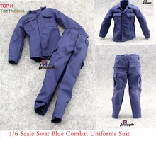 купить 1:6 Scale Blue SWAT Combat Uniforms Clothing Suit/Alone pants clothes annex For 12