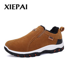 2019 Autumn Winter Shoes Men Suede Leather Sneakers Big Size 39-47 Warm Plush Lining Man Slip On Casual Shoes(China)