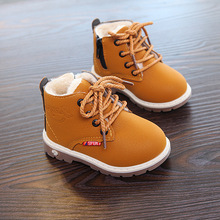 Fashion Children Leather Single Boots For Girls Boys Hot Sale Kids Snow Shoes Casual Soft Baby Toddler A954