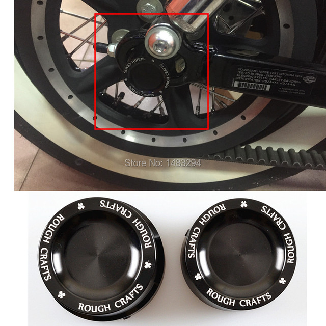 Black Aluminum Rough Crafts Rear Axle Nut Covers Bolt Kit Fits For Harley Sportster XL883 XL1200 Dyna Touring V-Rod