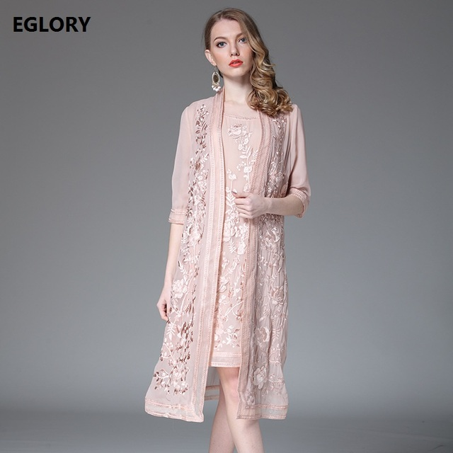 New 2018 Spring Summer Dress Sets Women Luxury Embroidery Open Stitch Elegants Long Coats+Sleeveless Embroidery Dress XXXL Size