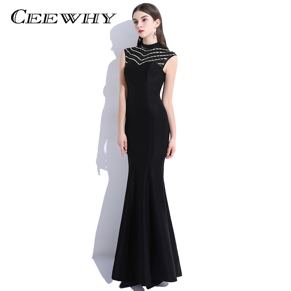 CEEWHY Vestido de Festa Longo Black Evening Dress Long Mermaid ...