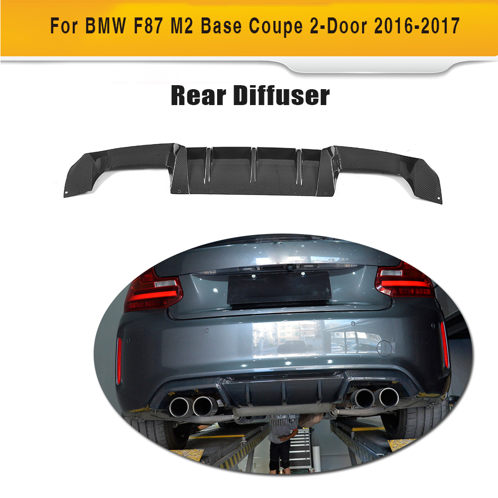 For M2 Carbon Fiber Rear Bumper Exhaust Diffuser Lip Spoiler for BMW F87 M2 Coupe 2 Door 2016 2017 Three StyleFor M2 Carbon Fiber Rear Bumper Exhaust Diffuser Lip Spoiler for BMW F87 M2 Coupe 2 Door 2016 2017 Three Style