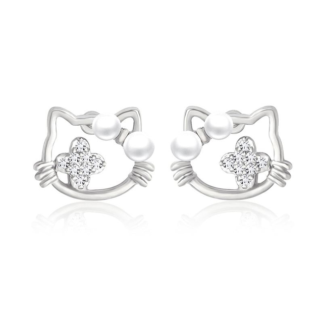 160eb5b53 Cute Hello Kitty Earrings for Girls Small Tiny Silver Pearl Cat Stud  Earrings for Women hello kitty jewelry Accessories ers-j20
