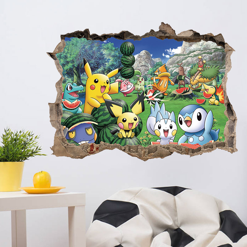 Broken Wall Pokemon Go Wall Stickers For Kids Rooms Pikachu Watermelon Fruit Wall Decals Poster Cartoon Child gift ...