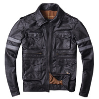 HARLEY DAMSON Black Men American Casual Style Leather Jacket Plus Size XXXL Genuine Cowhide Autumn Spring Russian Leather Coat