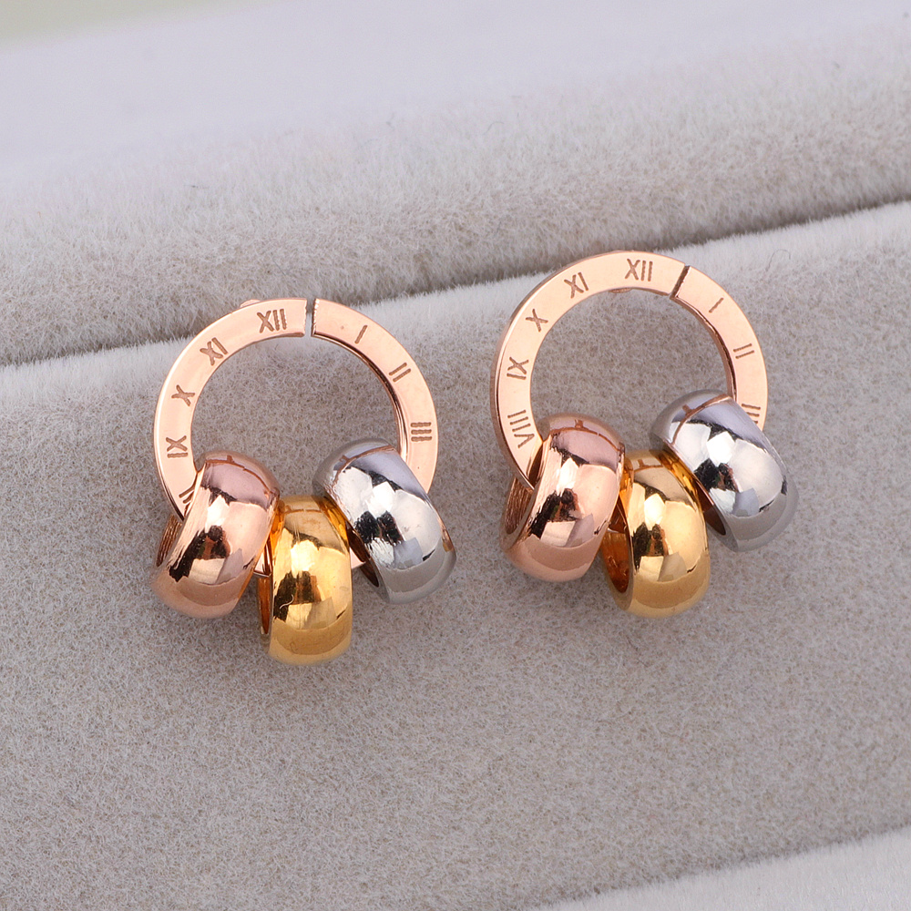 Trendy Rose Gold Color Roman Numerals Stainless Steel Stud Earrings For Women Girls Brand Best Jewelry Gift Female Bjioux E1750