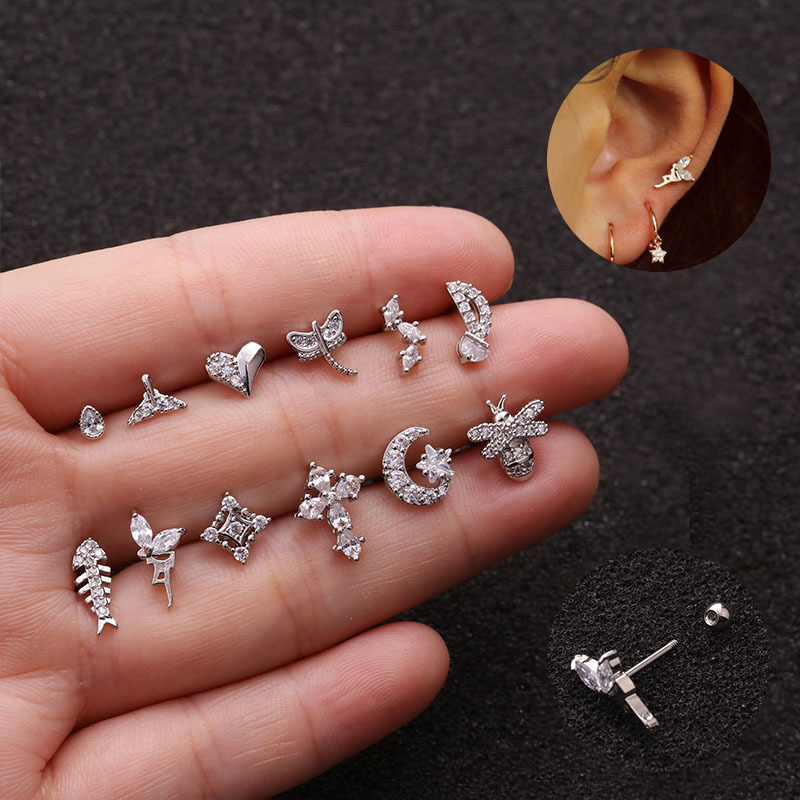 1Pc 20g Stainless Steel Ear Piercing Jewelry Crystal Cartilage Stud Tragus Helix Conch Rook Lobe Screw Back Earring