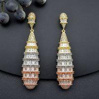 ModemAngel Luxury Long WaterDrop Full Micro AAA Cubic Zirconia Copper Women Earring Dubai Jewelry Fashion Jewellery