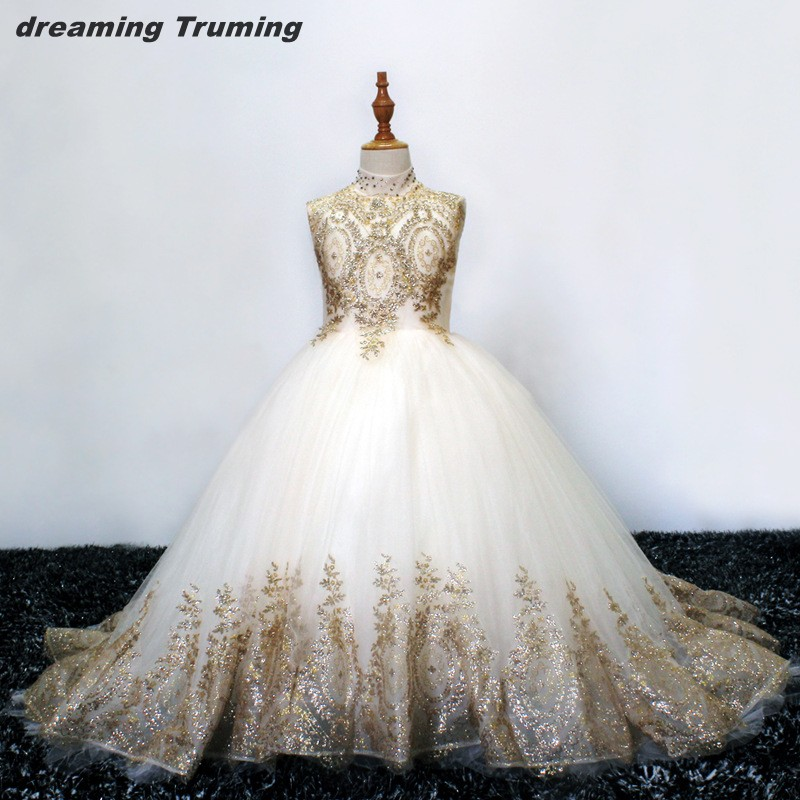 Real Pictures White And Gold Flower Girl Dresses Appliqued Beading Ball Gown Girl Party Communion Dress Pageant Gown
