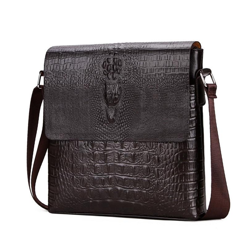 Men'S Messenger Bags Alligator Crossbody Shoulder Bags For Businessman Vintage High Quality Leather Retro Bags Luxury Brands Hot