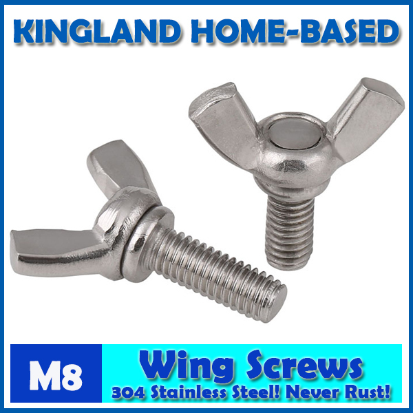 M8 DIN316 Wing Screws Bolt Metric 304 Stainless Steel Wing Butterfly Thumb Screw Easy To Maintain stainless steel expansion screw bolt lengthened bursting wire metric standard for air conditioner m8 60 70 80 100