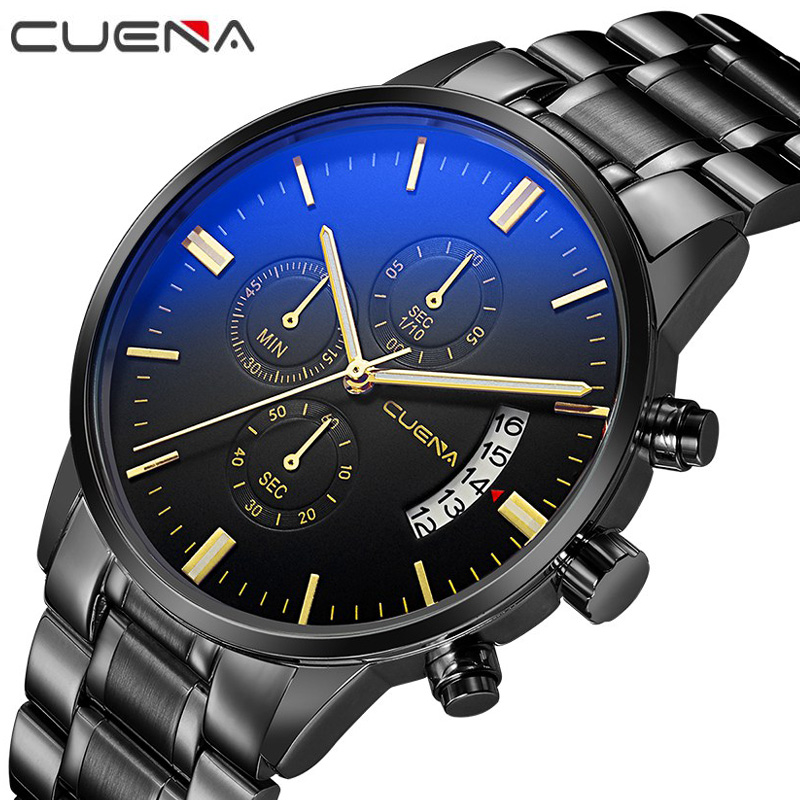 Men Fashion Quartz Watch Mans Full Steel Sports Watches Top Brand Luxury CUENA Relogio Masculino Wristwatches 6801G 12 Colors men fashion quartz watch mans full steel sports watches top brand luxury cuena relogio masculino wristwatches 6801g clock