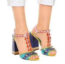 Summer Girl 2018 Rainbow Sandals Gladiator Shoes Thick Heeled Ladies Party Studs Straps Female Wedding Dress