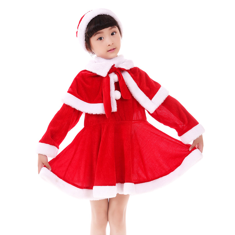 Baby Kids Girls Christmas Santa Claus Costume Dress with Shawl Hat Xmas Outfits Christmas Dresses Decoration