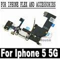 De alta Calidad Negro/Blanco USB Cargador Conector Dock Flex cable con conector de auriculares para iphone 5 5g reemplazo puerto de alimentación