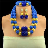 New Royal Blue African Jewelry Set Nigerian Wedding African Beads Jewelry Set Crystal Gold-color Jewelry Set Free Shipping