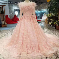 LSS263 pink girls pageant dresses long tulle sleeves o neck feathers appliques prom dresses cheap A line evening party dresses