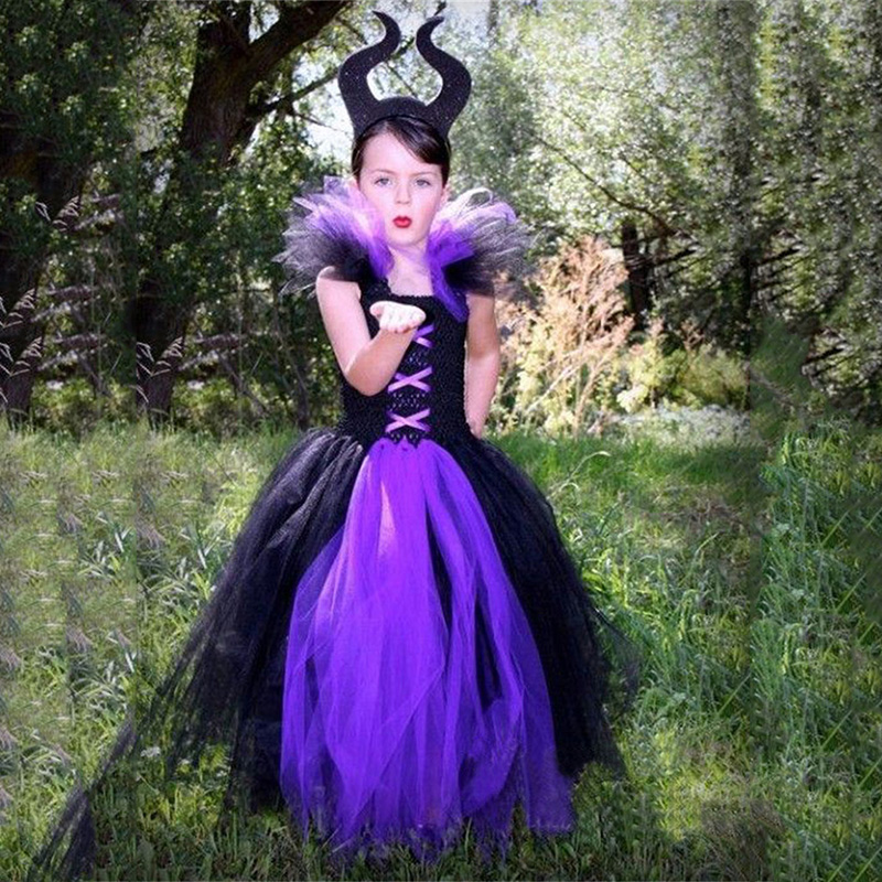 Us 20 68 10 Off Girl Classic Maleficent Evil Queen Costume For Halloween Party Dress Girls Kids Witch Costume For Children Birthday Dress Up In