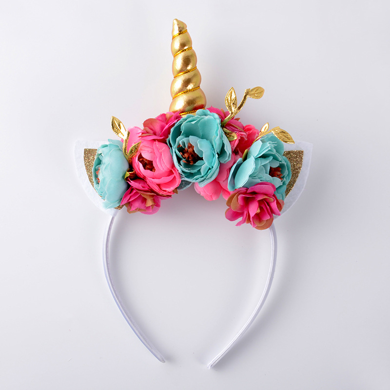 gold Unicorn Horn headband with glitter cat Ears flower headband hairclips for kids girls wreath Hair accesorios Christmas gift
