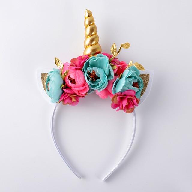 gold Unicorn Horn headband with glitter cat Ears flower headband ...