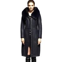 Из Овчины вместе пальто Для женщин зимние утепленные натуральная кожа Лисий мех воротника куртки с капюшоном топы женские из натуральной к